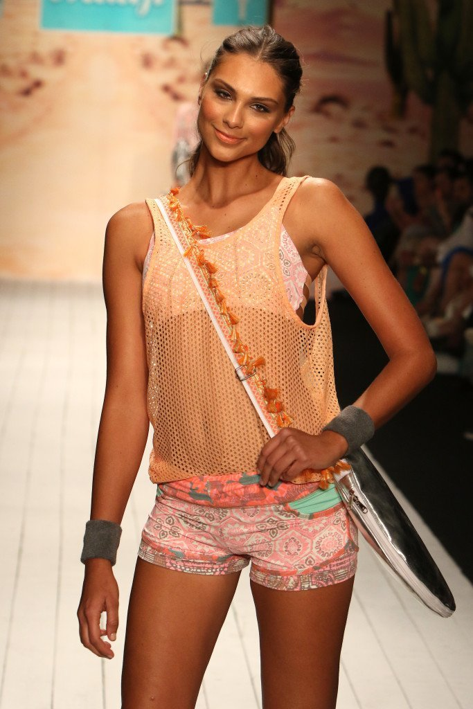 MIAMI, FL - JULY 19:  A model walks the runway at the Maaji Swimwear fashion show during Miami Swim Week 2016 at the FUNKSHION Tent on July 19, 2015 in Miami, Florida.  (Photo by John Parra/Getty Images for Maaji)